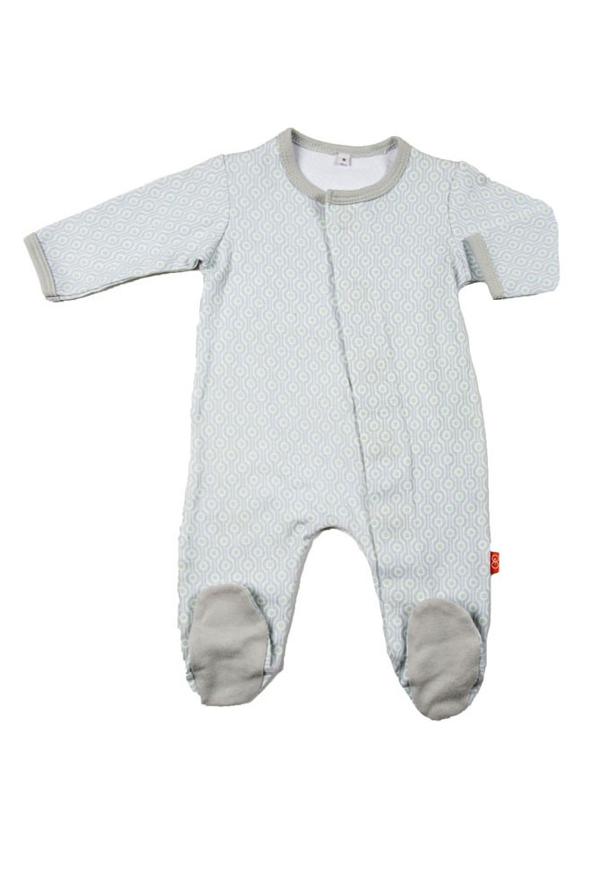 Magnificent Baby Magnetic Me™ Baby Boy's Footie (Gray Mod Dot)