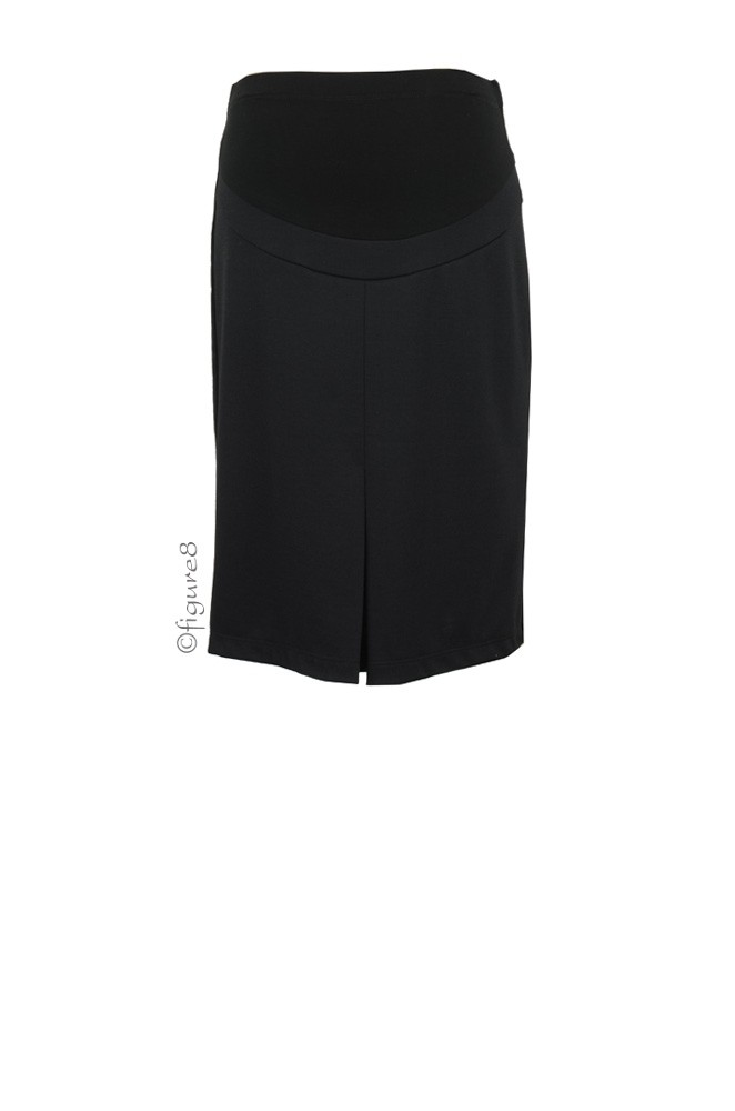 Audrey Maternity Pencil Skirt with Belly Panel (Black)