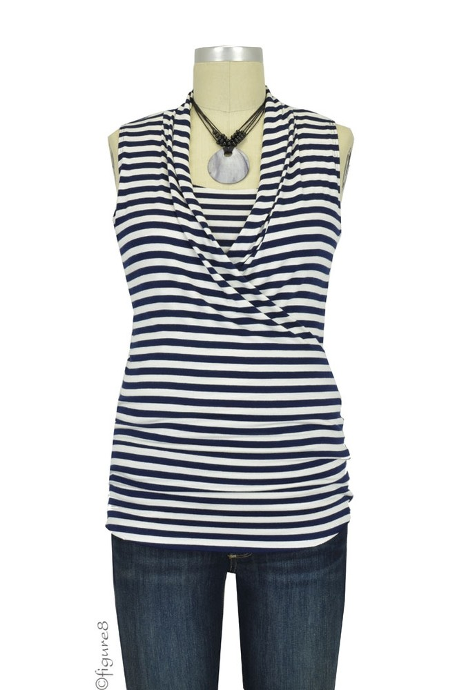 Baju Mama Isabella Raw Edge Sleeveless Maternity & Nursing Top (Navy & White Stripes)