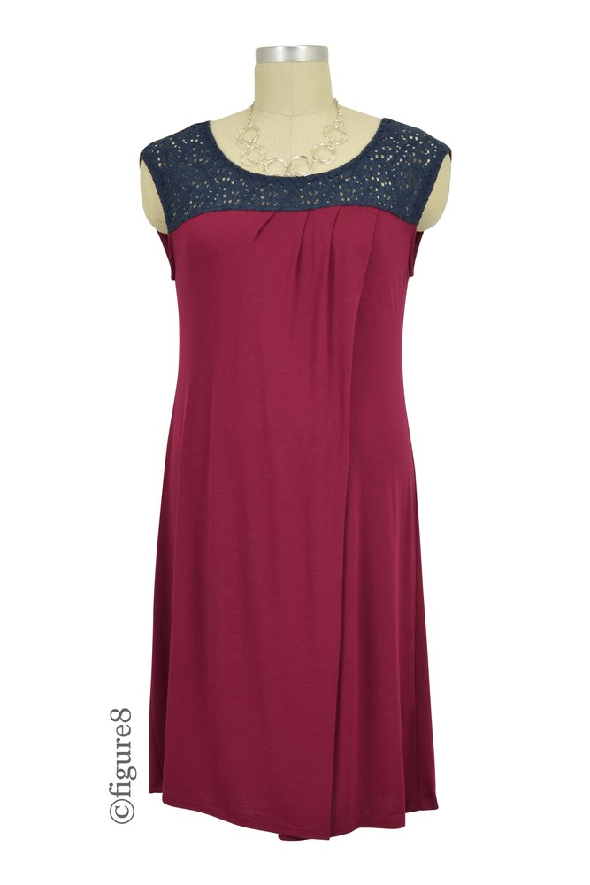 Colette Crochet Maternity & Nursing Dress (Deep Burgundy)