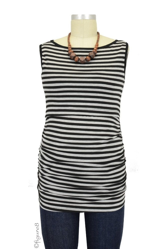 Baju Mama Audrey Sleeveless Boatneck Maternity & Nursing Top (Heather Grey & Black Stripe)
