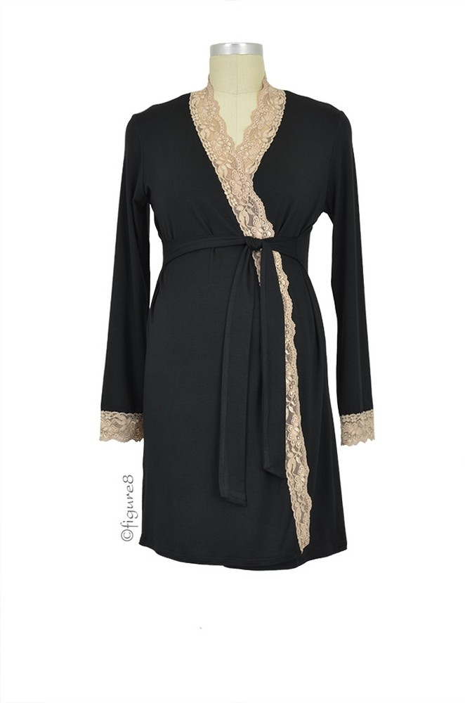 Baju Mama Emma Long Sleeve Lace Trim Robe (Black/Cream Lace)