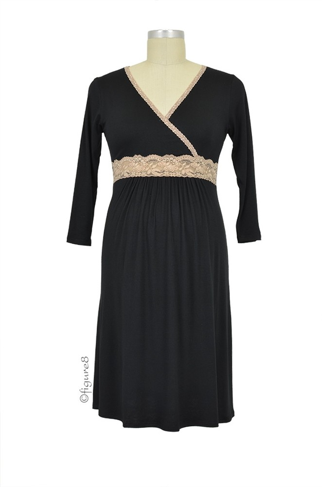 Baju Mama Emma Modal-Lace Nursing Night Dress (Black/Cream Lace)
