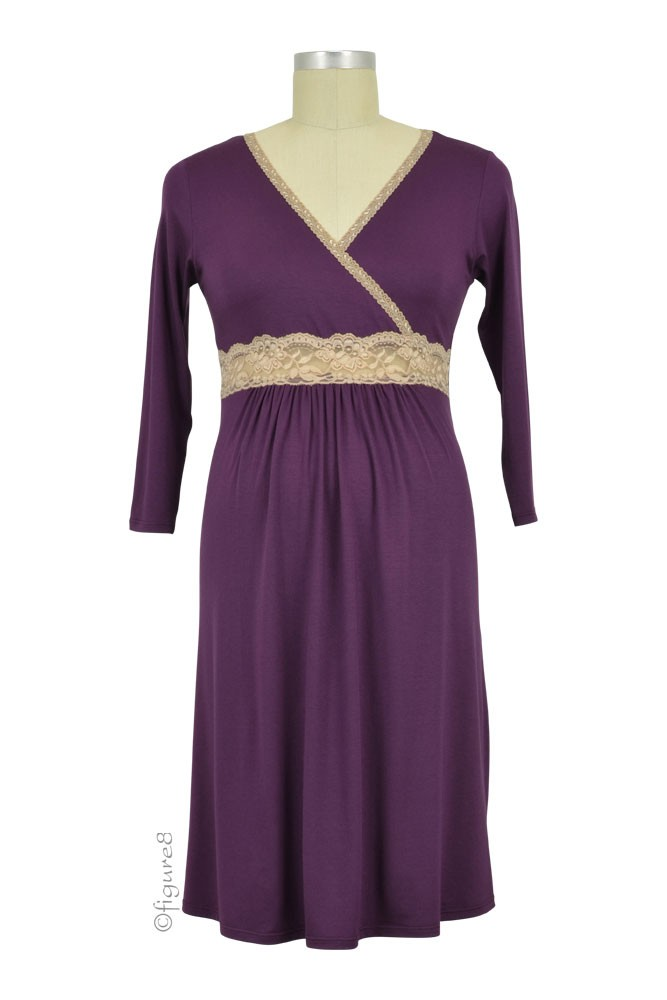 Baju Mama Emma Modal-Lace Nursing Night Dress (Eggplant/Cream Lace)