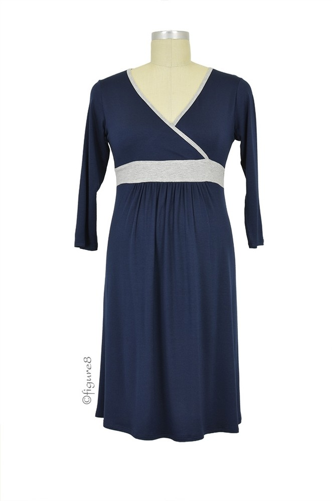 Baju Mama Jane Modal Nursing Night Dress (Navy/Heather Grey)