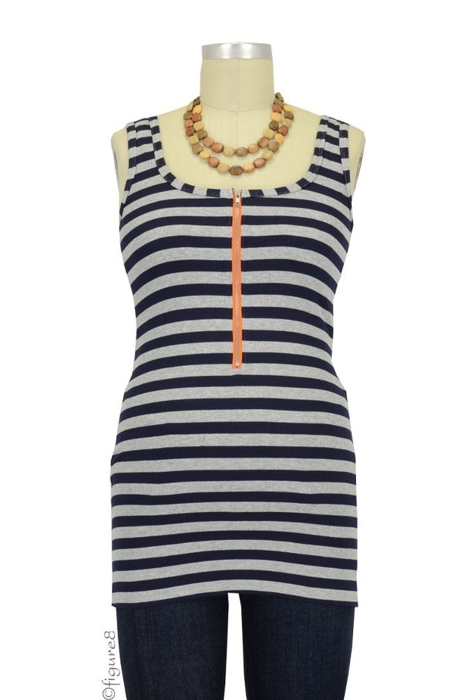Molly Ades Zippered Nursing Tank (Navy & Heather Stripes)