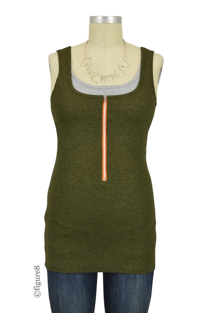 Molly Ades Zippered Nursing Tank (Olive)