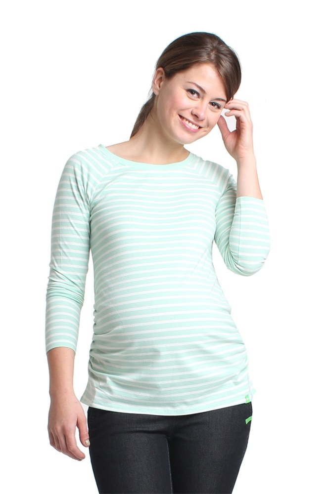 Miel Roundneck Long Sleeve Maternity Tee (Mint Stripe)