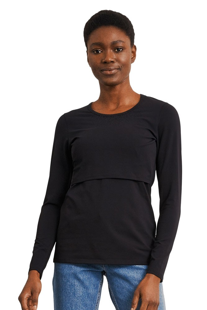 Boob Design Classic Organic Long Sleeve Maternity & Nursing Top (Black)