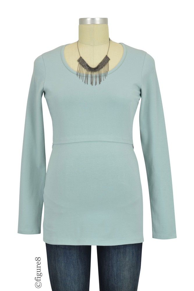 Boob Design Classic Organic Long Sleeve Maternity & Nursing Top (Ice Blue)