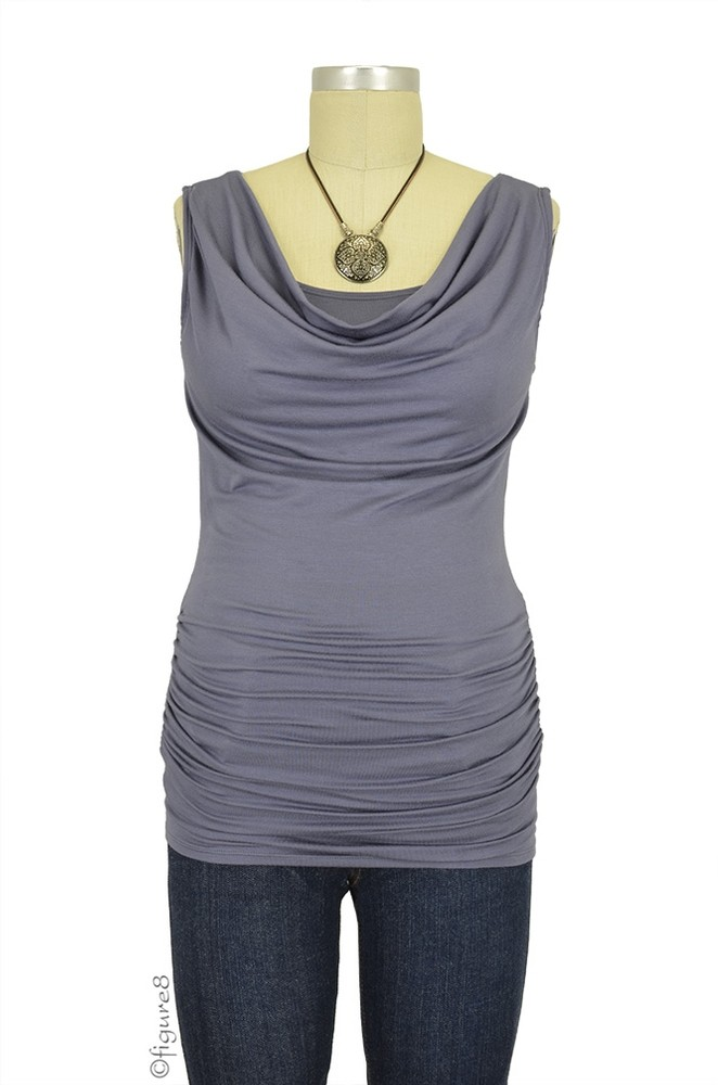 Baju Mama Ava Sleeveless Maternity & Nursing Cowl Neck Top (Aluminum)