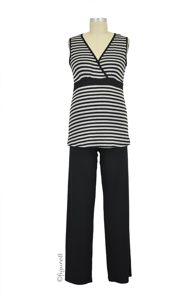 Baju Mama Jane Modal Sleeveless Nursing PJ Set (Heather Grey/Black Stripe)