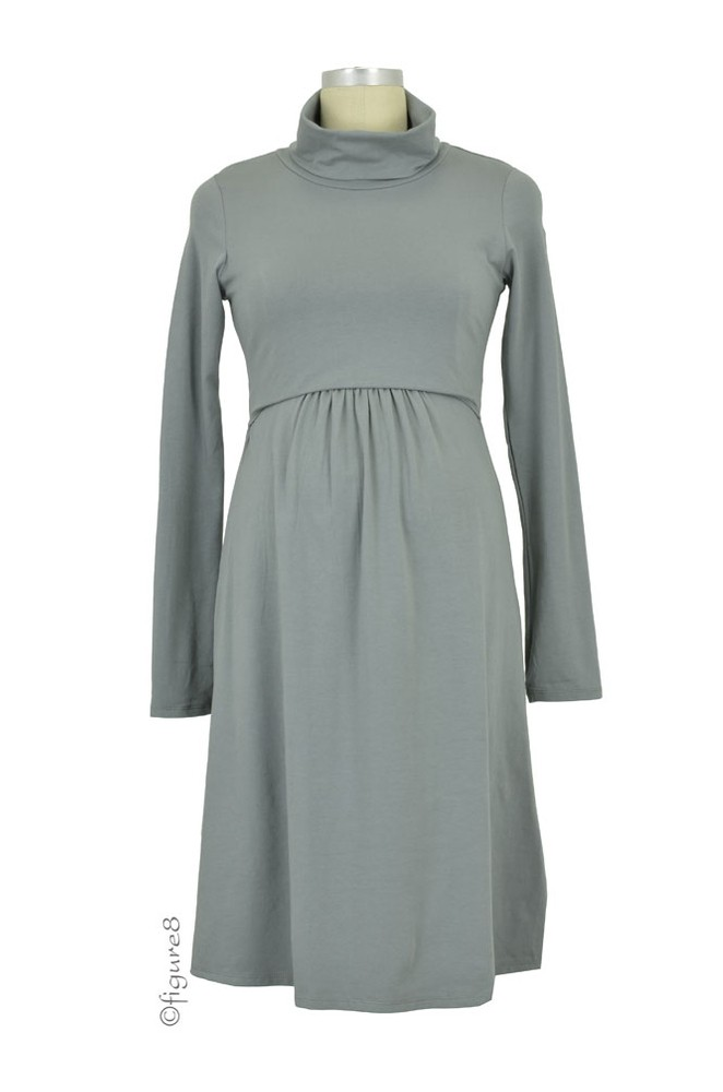 Must Have Turtle-Neck Long Sleeve Nursing Dress (Moon Mist)