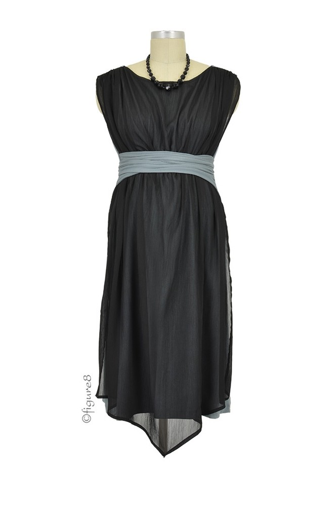 Sonia D&A Hugaboo & Chiffon Nursing Dress (Black with Grey)