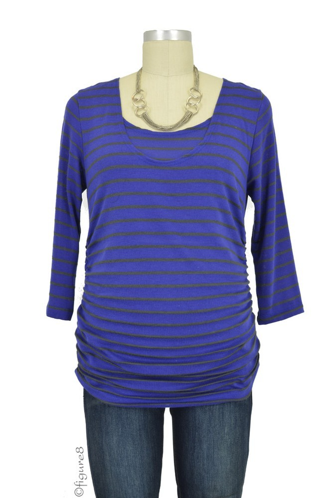 Morgan Drape Back Nursing Top (Marine Stripe)