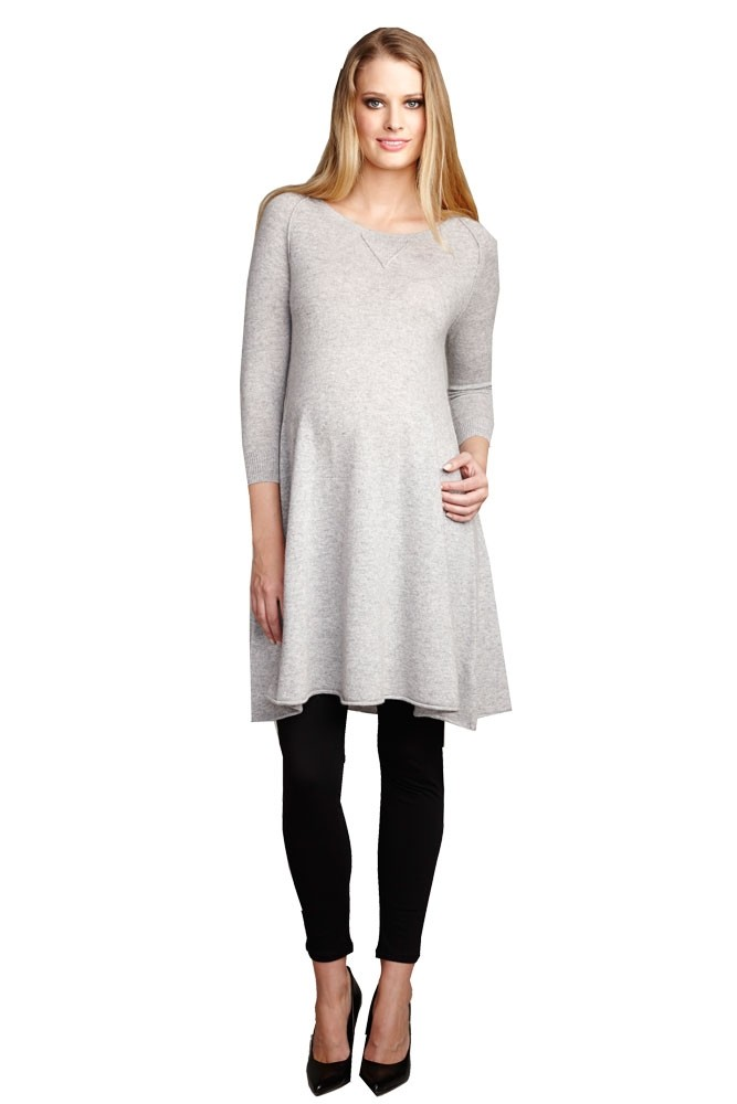 Mallory Cashmere Maternity Sweater Dress in Heather Grey by ...