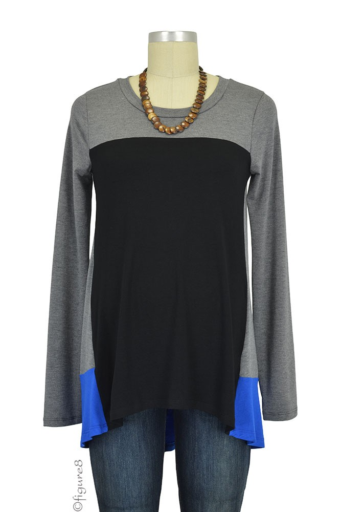 Dena Colorblock Long Sleeve Maternity Top (Heather Charcoal/Black/Royal)