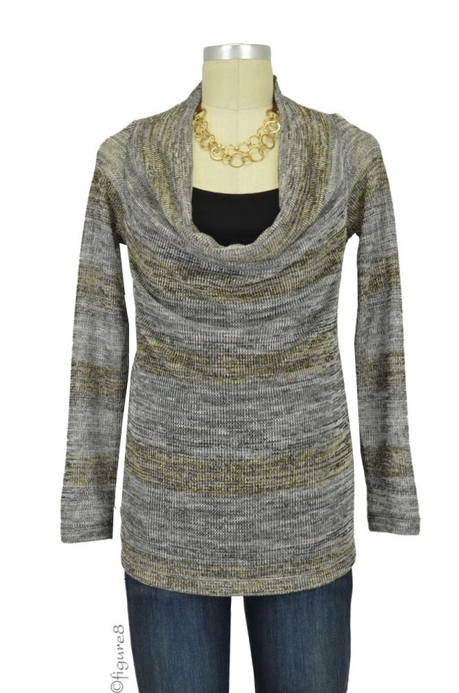 Quincy D&A Cowl Sweater with Nursing Tank (Gold Sweater Stripe)