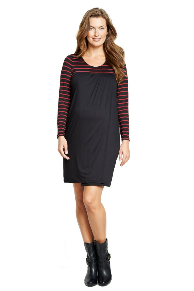Meredith Babydoll Nursing Dress (Black/Wine Stripes)