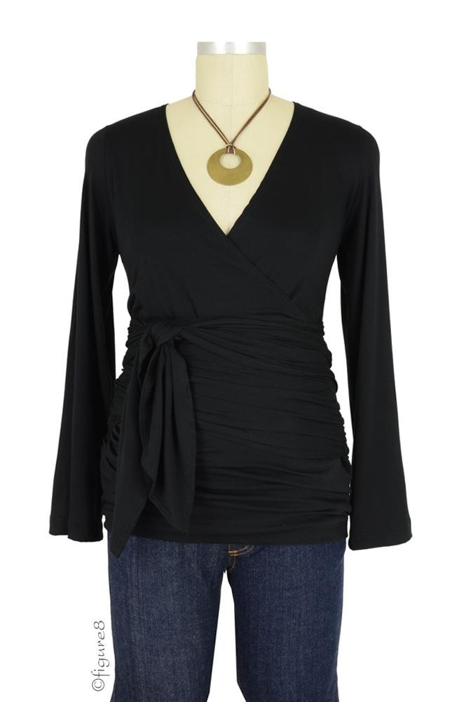 The Bella Wrap Around Maternity Top (Black)