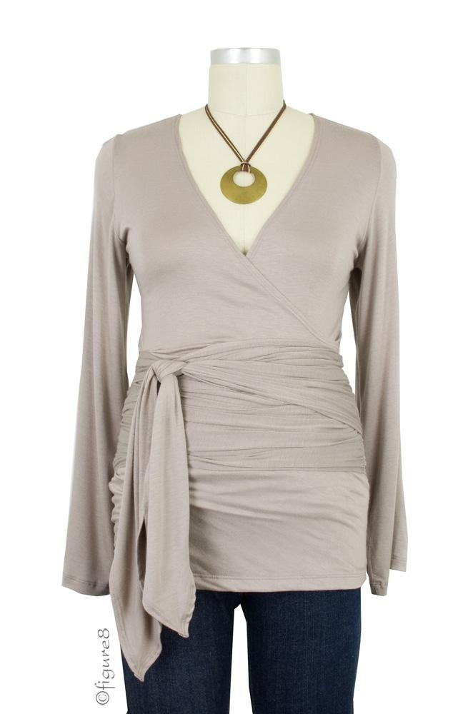 The Bella Wrap Around Maternity Top (Taupe)