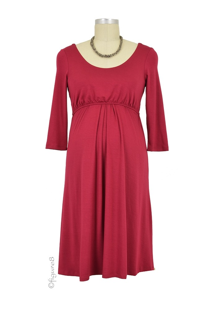 Ying 3/4 Sleeve Nursing Dress (Burgundy)