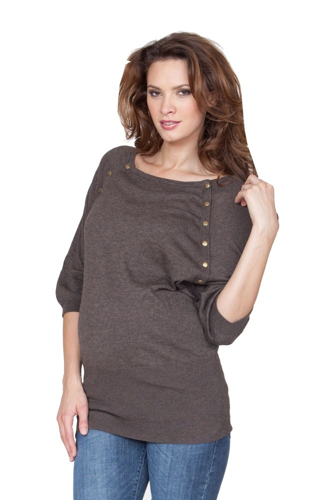 Knitting Pattern Nursing Sweater : Seraphine Alexia Knitted Maternity & Nursing Sweater in Brown