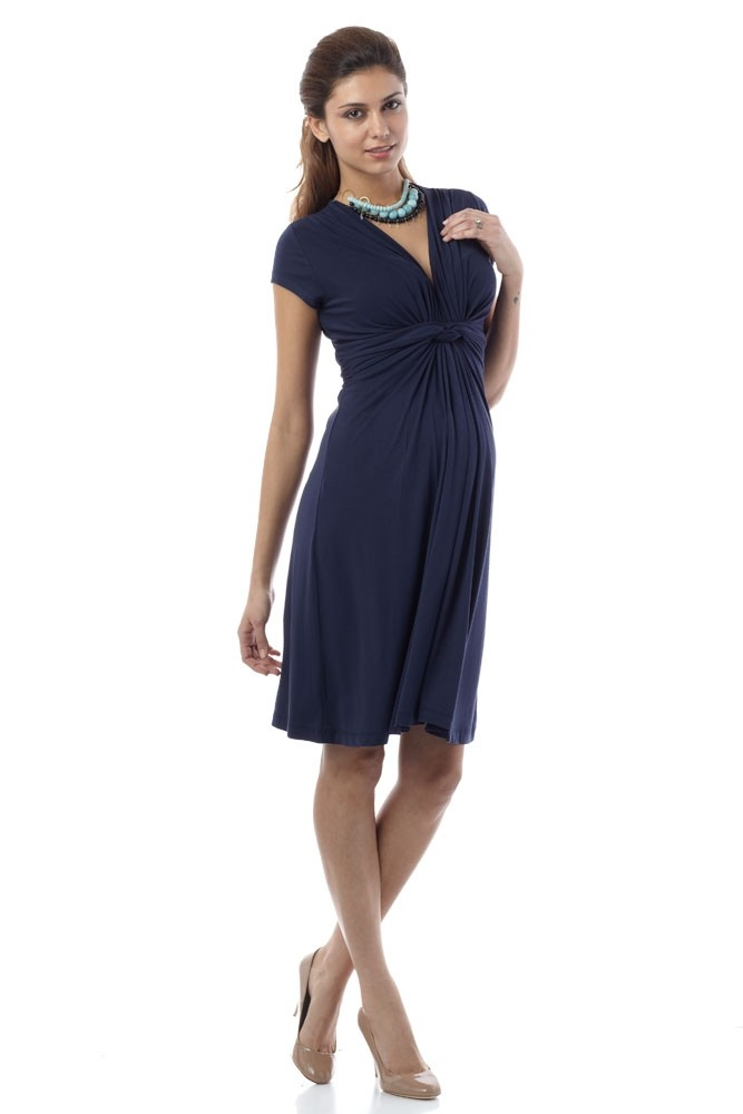 Seraphine Jolene Short Sleeve Maternity Dress (Navy)