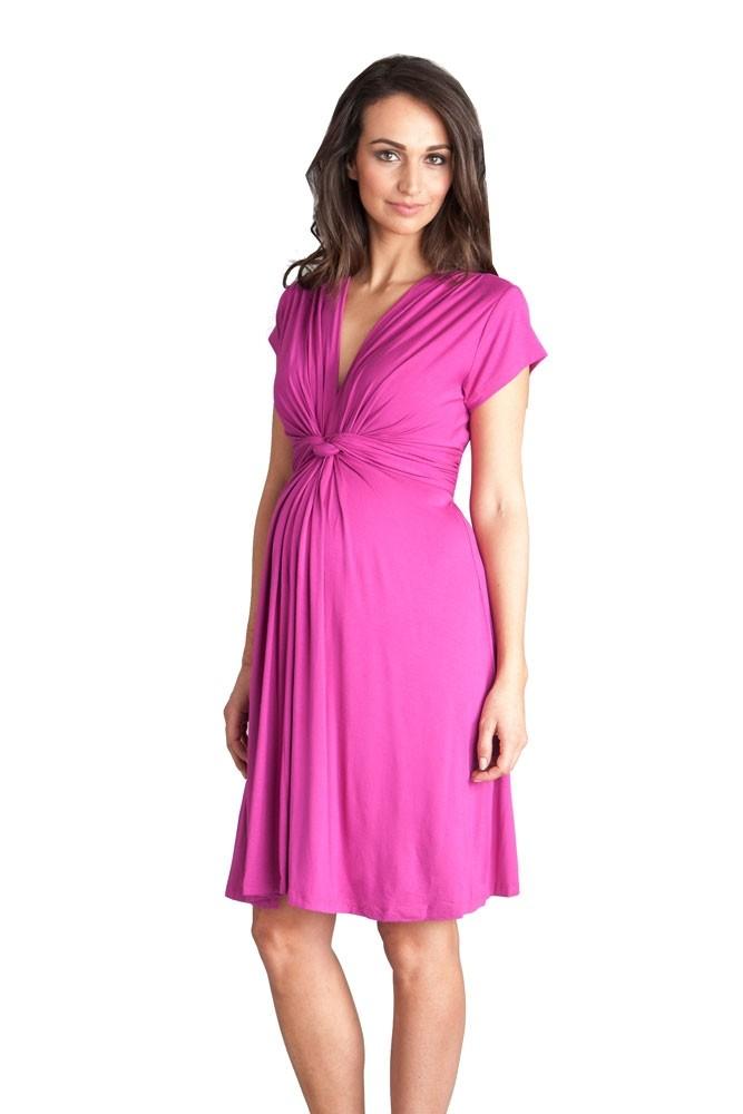 Seraphine Jolene Short Sleeve Maternity Dress in Fuschia