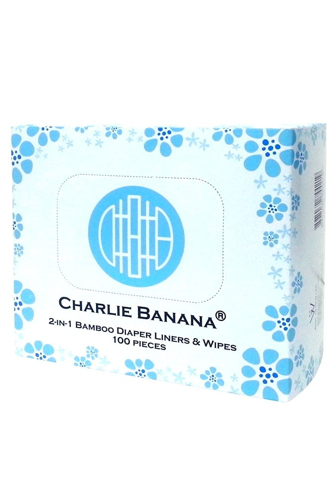 Charlie Banana 2-in-1 Bamboo Diaper Liners & Wipes-100 pieces