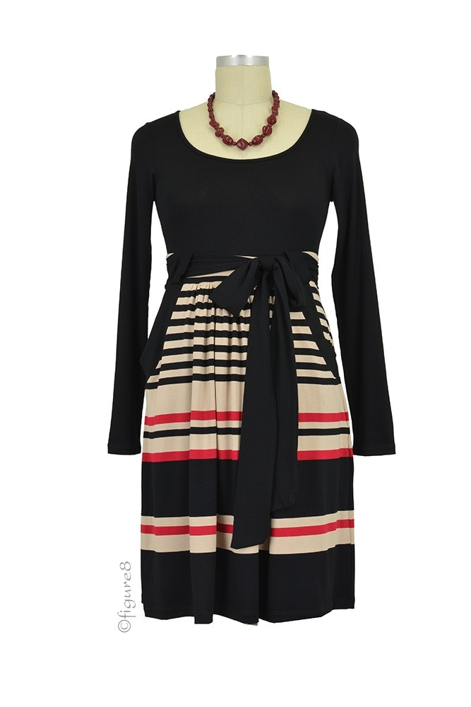 Ella Long Sleeve Maternity Dress (Red, Taupe, & Black Stripes)