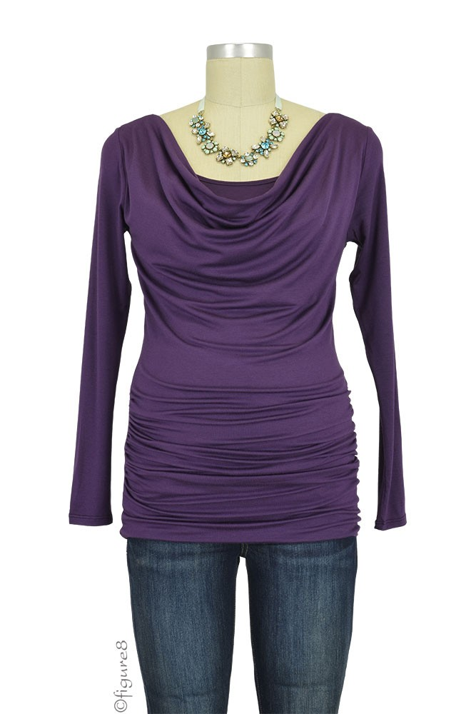 Baju Mama Ava Long Sleeve Cowl Neck Maternity & Nursing Top (Eggplant)