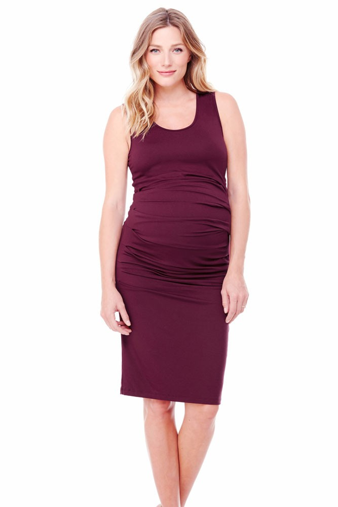 Ingrid & Isabel Pleated Tank Maternity Dress (Pinot)