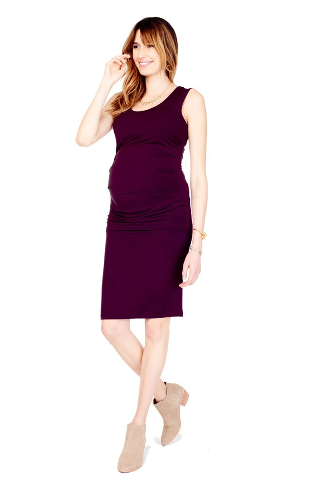 Ingrid & Isabel Pleated Tank Maternity Dress (Plum)