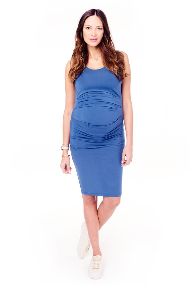 338406addc9 Ingrid   Isabel Pleated Tank Maternity Dress in Sky