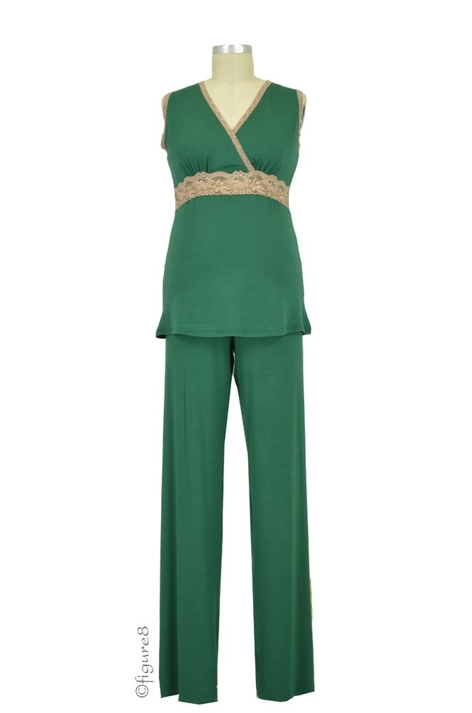 Baju Mama Emma Modal-Lace Sleeveless Nursing PJ Set (Hunter Green/Cream Lace)