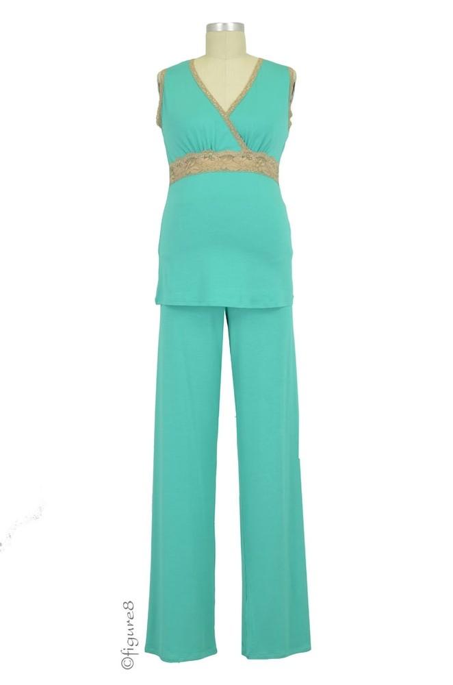 5f9b20de28a Baju Mama Emma Modal-Lace Sleeveless Nursing PJ Set in Palm/Cream Lace