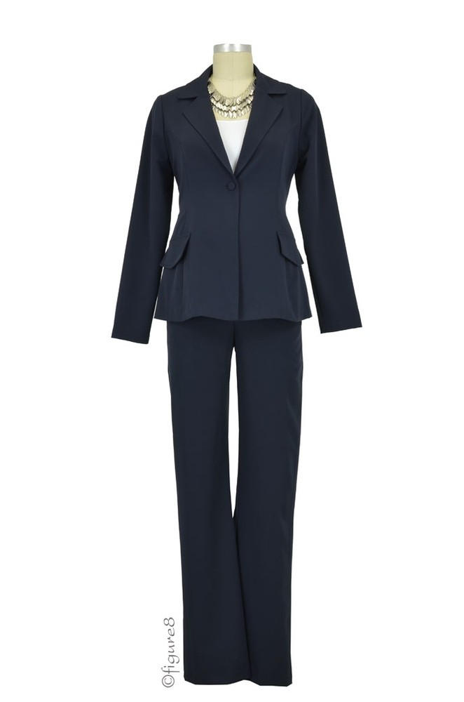 Audrey One Button Blazer & Relaxed Pant - 2-pc Maternity Suit Set (Navy)