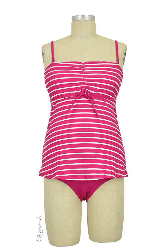 Boob Design Fast Food Tankini (Magenta Stripes & Off White)