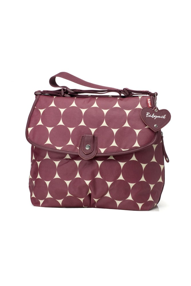 Babymel Satchel Jumbo Dot Diaper Bag (Cherry)