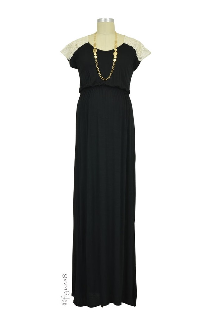 Juliet Maxi Maternity Dress (Black with Cream)