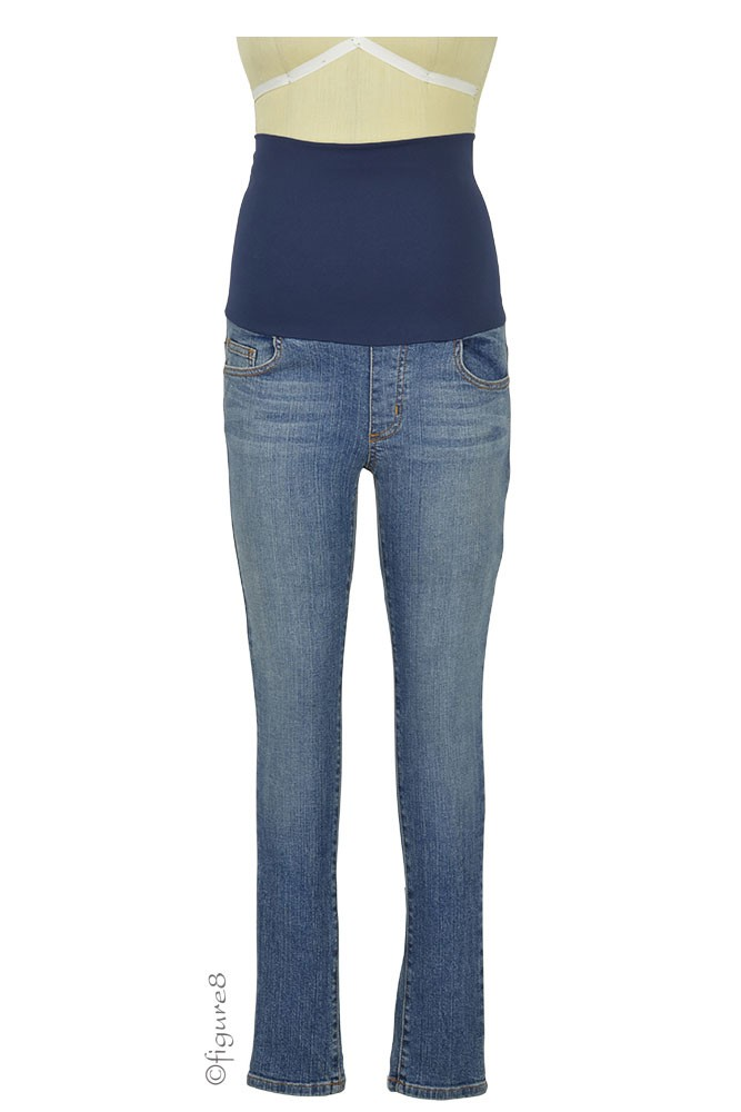 Belly Support Skinny Ankle Maternity Jeans (Stone Wash)