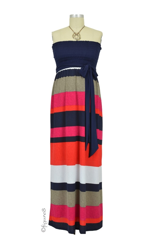 Collette Maxi Tube Maternity Dress (Multicolor Stripe)