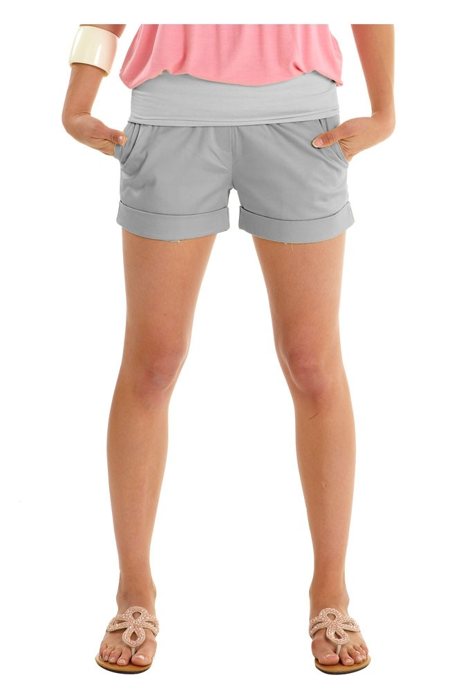 Comfy Sateen Maternity Short Shorts (Silvery Pebble)