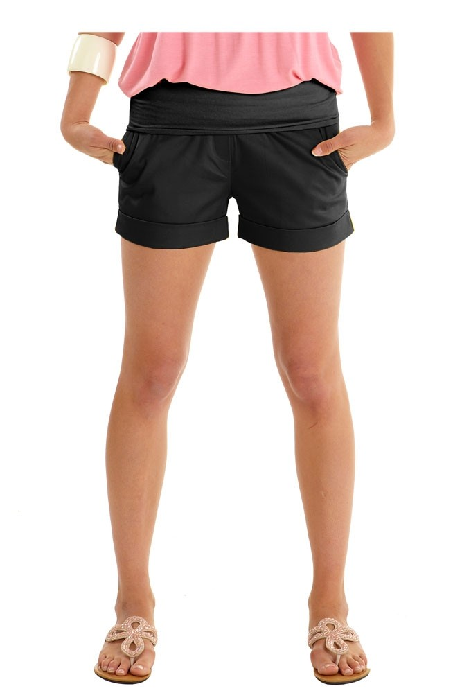 Jacob Maternity Sateen Short Shorts (Black)