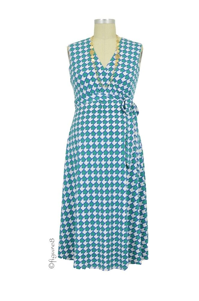 Adriana Sleeveless Faux Wrap Maternity Dress (Retro Green)
