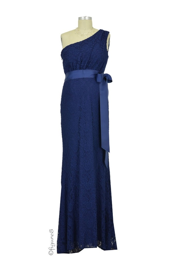 Evelyn One-Shoulder Lace Maternity Gown with Sash (Navy)