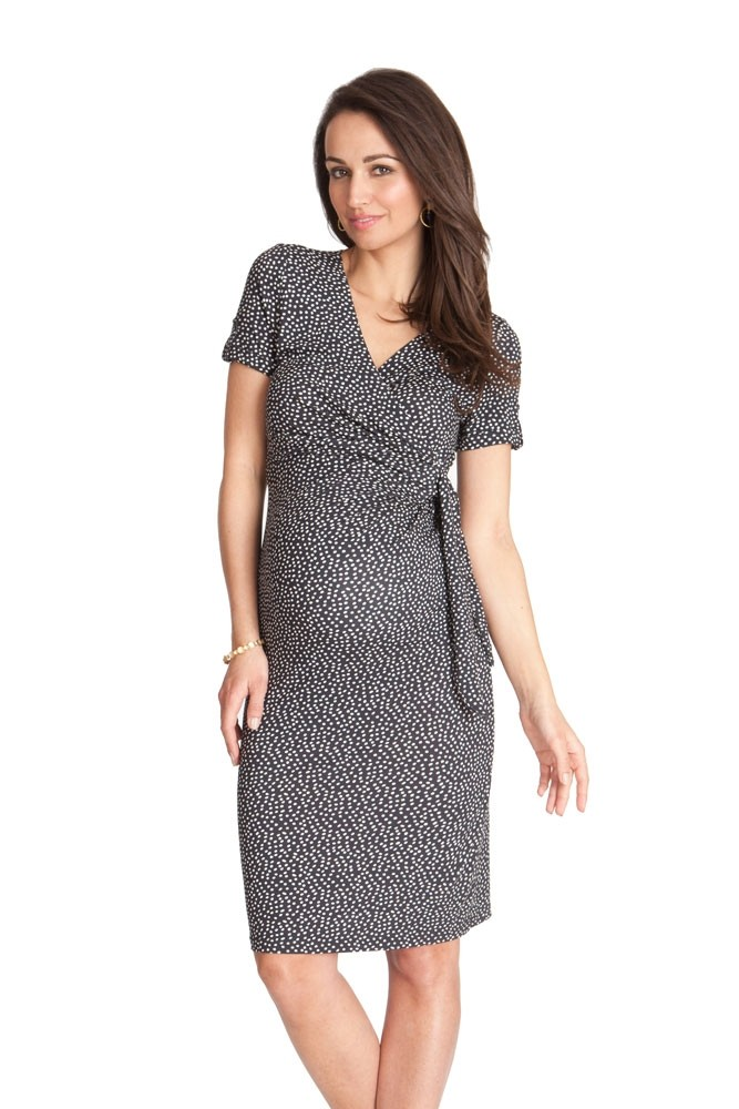 Seraphine Renatta Ss Faux Wrap Maternity Dress In Navy Dot