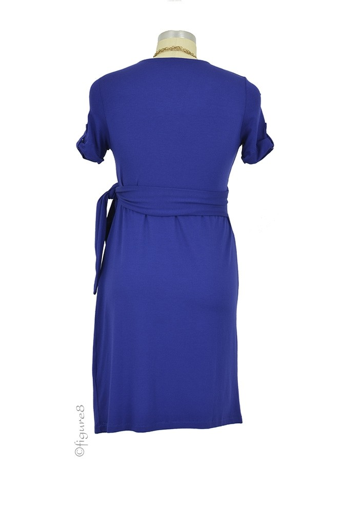 Renatta SS Faux Wrap Maternity Dress in Royal Blue by