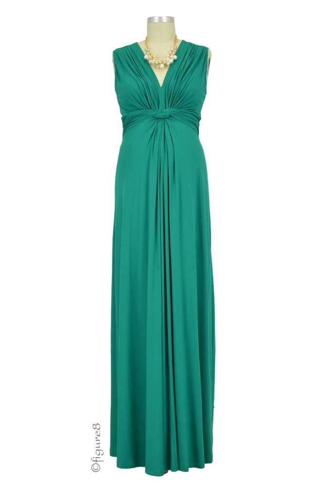 Seraphine Jo Knot Front Maxi Maternity Dress in Emerald